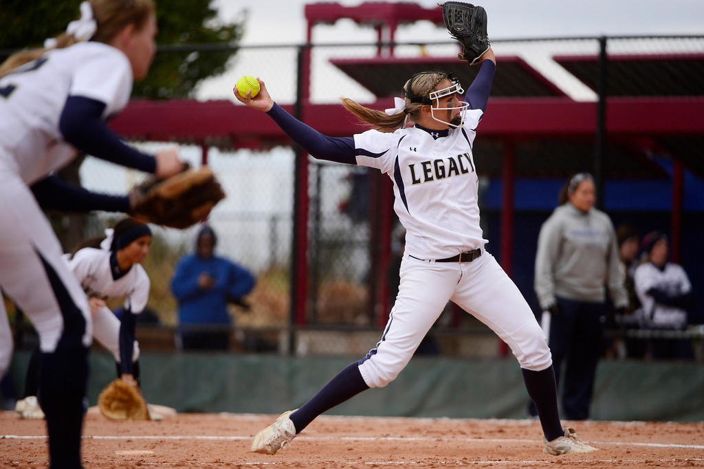 . Legacy pitcher Haley Smith pitches against Legend during the Lightning\'s 6-4 state title win at the Aurora Sports Park on Sunday, October 20, 2013. The win was Legacy\'s sixth title in seven years. (Photo by AAron Ontiveroz/The Denver Post)
