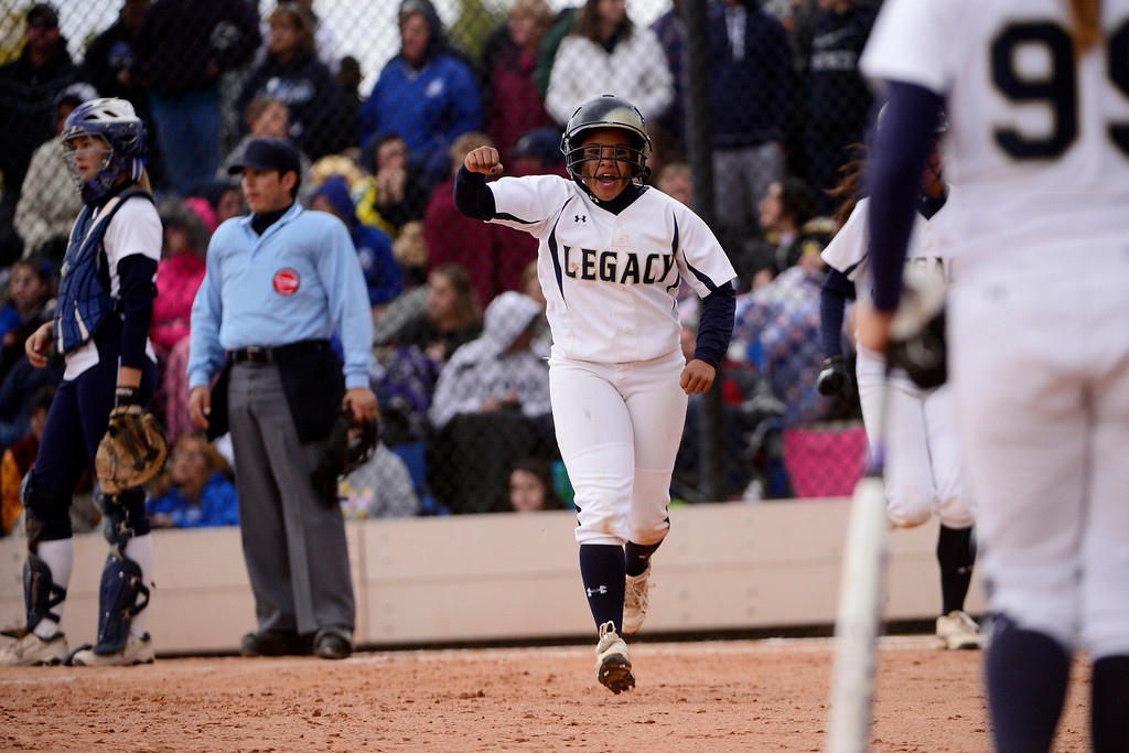 . Legacy\'s Celyn Whitt reacts to scoring against Legend during the Lightning\'s 6-4 state title win at the Aurora Sports Park on Sunday, October 20, 2013. The win was Legacy\'s sixth title in seven years. (Photo by AAron Ontiveroz/The Denver Post)
