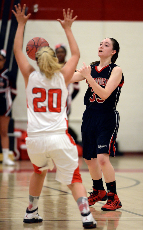 . Fairview senior guard Sarah Kaufmann (33) tried to break a very effective press from Angels\' Alexus Gutierrez (20) in the second half. The Denver East High School girl\'s basketball team defeated Fairview 68-53 Friday night, February 28, 2014. Photo By Karl Gehring/The Denver Post