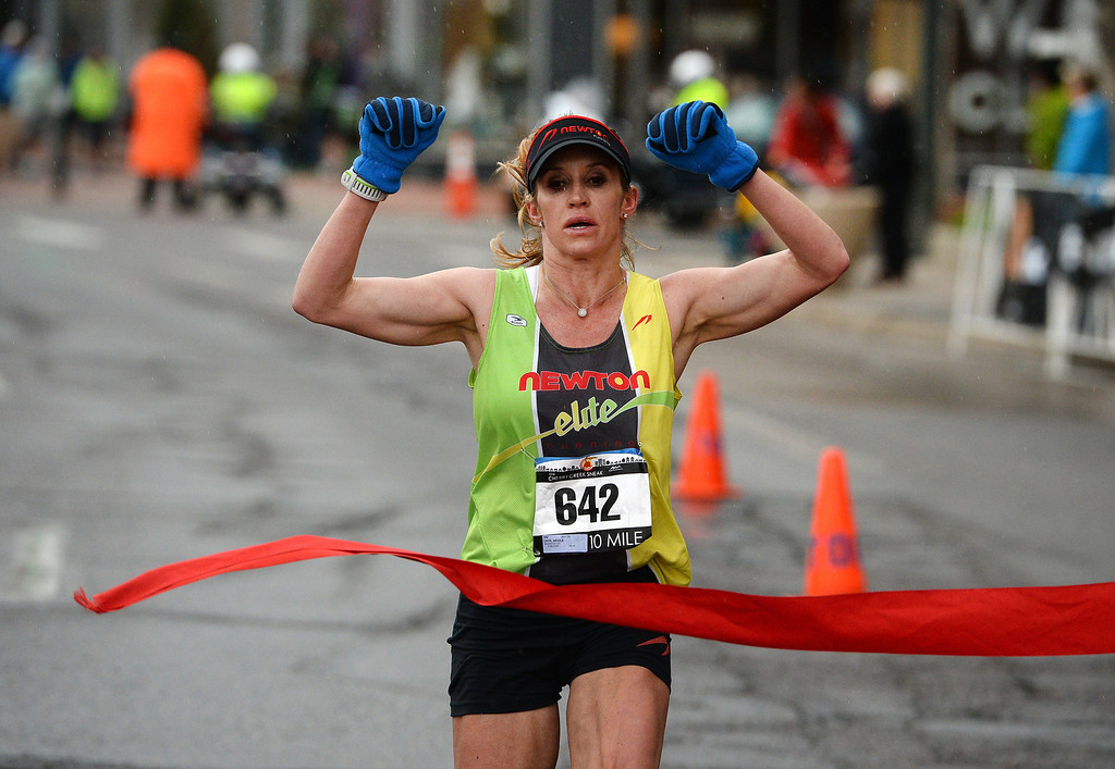 . Nicole Chyr wins the 10-mile race during the 32nd annual Cherry Creek Sneak.  (Photo By Helen H. Richardson/ The Denver Post)