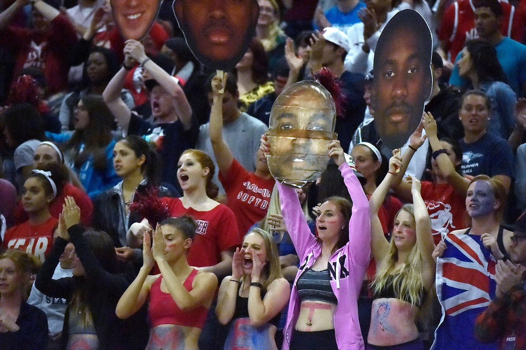 . Metro State fans cheer on during their game against Midwestern State March 18, 2014 in the Championship game of the Division ll Men\'s Basketball Championship at Auraria Events Center. (Photo by John Leyba/The Denver Post)
