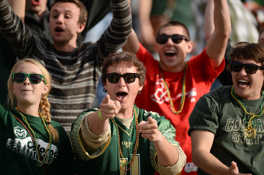 . Colorado State University students cheer during the game against University of Nevada at Hughes Stadium in Fort Collins, Colorado on November 09, 2013. CSU won 38-17. (Photo by Hyoung Chang/The Denver Post)