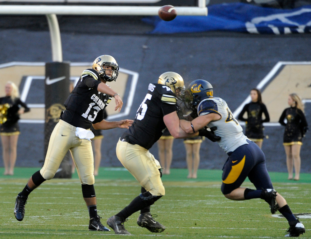 . BOULDER, CO - NOVEMBER 16: CU quarterback Sefo Liufau (13) passes in the first half. The University of Colorado football team takes on the University of California in the first quarter at Folsom Field in Boulder. (Photo by Kathryn Scott Osler/The Denver Post)