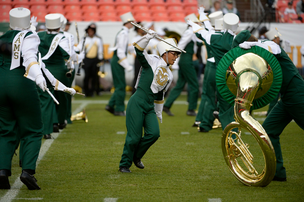 . DENVER, CO. - AUGUST 29:  The Colorado State Rams marching band performs on the field before kick-off at the Rocky Mountain Showdown at Sports Authority Field at Mile High Friday evening, August 29, 2014. (Photo By Andy Cross / The Denver Post)