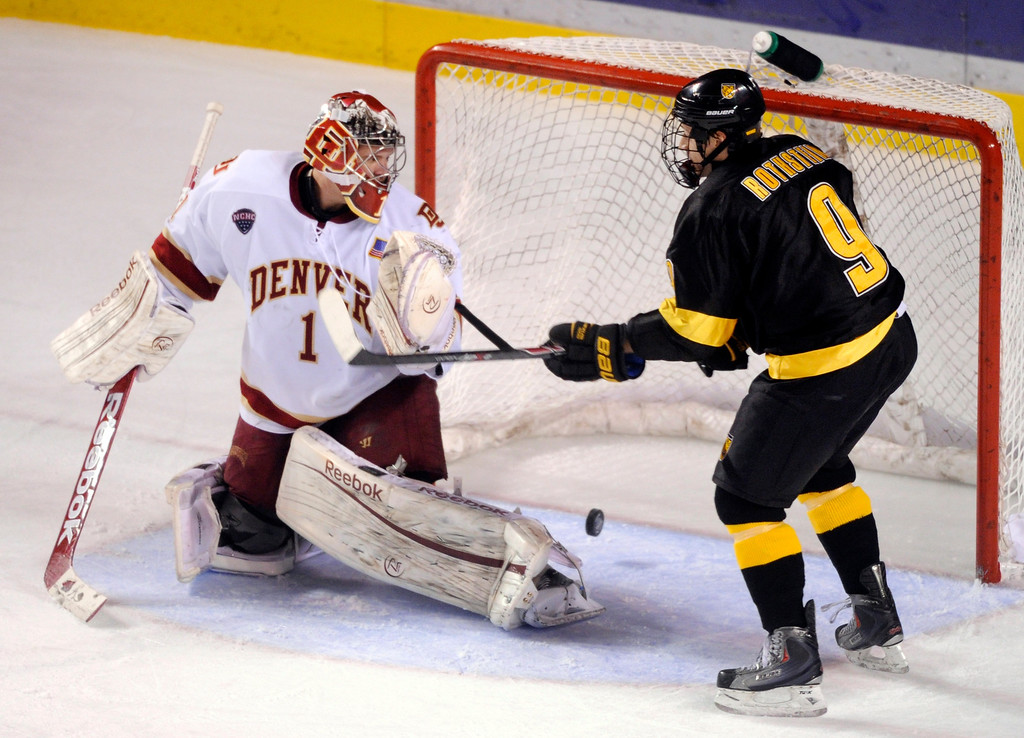 . Denver goaltender Sam Brittain allowed only one goal Saturday. The University of Denver hockey team defeated Colorado College 2-1 at Magness Arena Saturday night, November 9, 2013. Photo By Karl Gehring/The Denver Post
