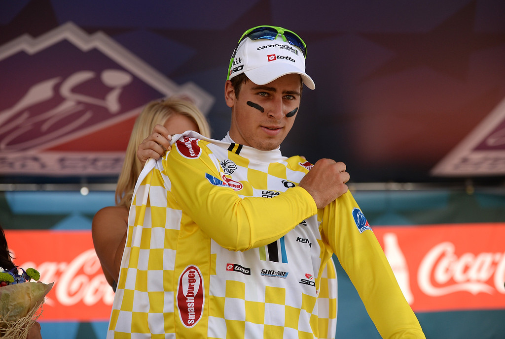 . Peter Sagan of Cannondale  Pro Cycling Team puts on the Race Leader jersey after winning the first stage of the 2013 USA Pro Challenge race   in Aspen, Colorado. (Photo By Hyoung Chang/The Denver Post)