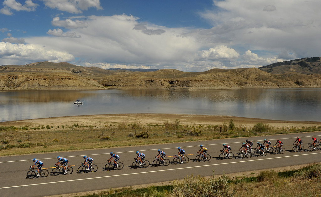 . STEAMBOAT SPRINGS, CO - August 21: Pack of cyclists are heading to Rabbit Ear Pass (9430 ft) during 106.9 mi third stage of 2013 USA Pro Challenge race from Breckenridge to Steamboat Springs. Steamboat Springs, Colorado. August 21, 2013. (Photo By Hyoung Chang/The Denver Post)
