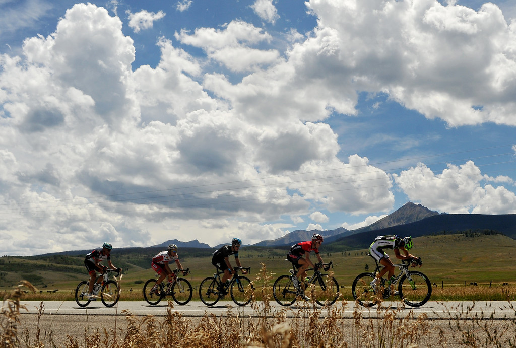 . STEAMBOAT SPRINGS, CO - August 21: Davide Villella of Cannondale Pro Cycling Team (#58) leads the group during 106.9 mi third stage of 2013 USA Pro Challenge race from Breckenridge to Steamboat Springs. Steamboat Springs, Colorado. August 21, 2013. (Photo By Hyoung Chang/The Denver Post)