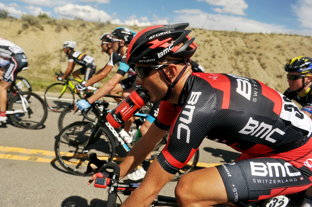. STEAMBOAT SPRINGS, CO - August 21: Stephen Cummings of BMC Racing Team (32) and a pack of cyclists are heading to Rabbit Ear Pass (9430 ft) during 106.9 mi third stage of 2013 USA Pro Challenge race from Breckenridge to Steamboat Springs. Steamboat Springs, Colorado. August 21, 2013. (Photo By Hyoung Chang/The Denver Post)