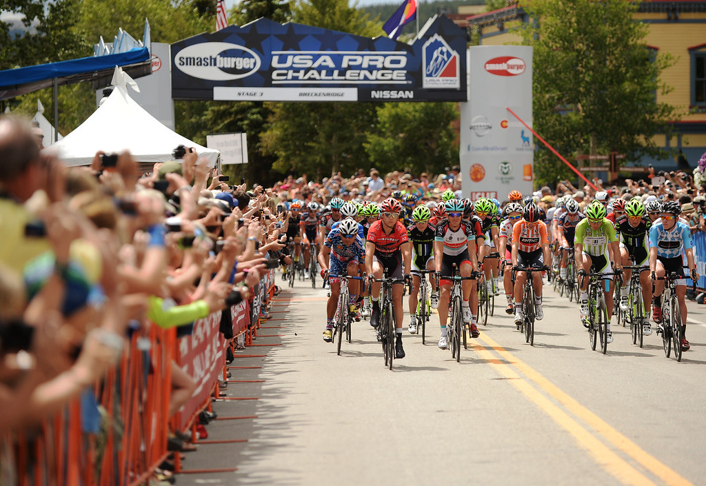 . STEAMBOAT SPRINGS, CO - August 21: Cyclists are leaving Breckenridge for 106.9 mi third stage of 2013 USA Pro Challenge race to Steamboat Springs. Steamboat Springs, Colorado. August 21, 2013. (Photo By Hyoung Chang/The Denver Post)
