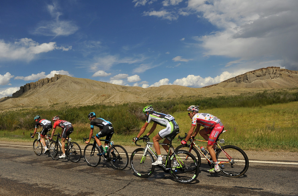 . STEAMBOAT SPRINGS, CO - August 21: Jens Voigt of RadioShack (#28) leads the group during 106.9 mi third stage of 2013 USA Pro Challenge race from Breckenridge to Steamboat Springs. Steamboat Springs, Colorado. August 21, 2013. (Photo By Hyoung Chang/The Denver Post)