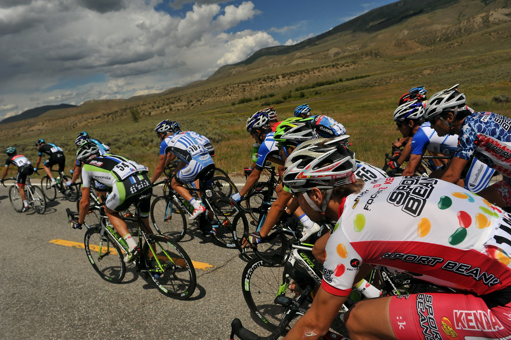 . STEAMBOAT SPRINGS, CO - August 21: Cyclists are heading to Rabbit Ear Pass (9430 ft) during 106.9 mi third stage of 2013 USA Pro Challenge race from Breckenridge to Steamboat Springs. Steamboat Springs, Colorado. August 21, 2013. (Photo By Hyoung Chang/The Denver Post)