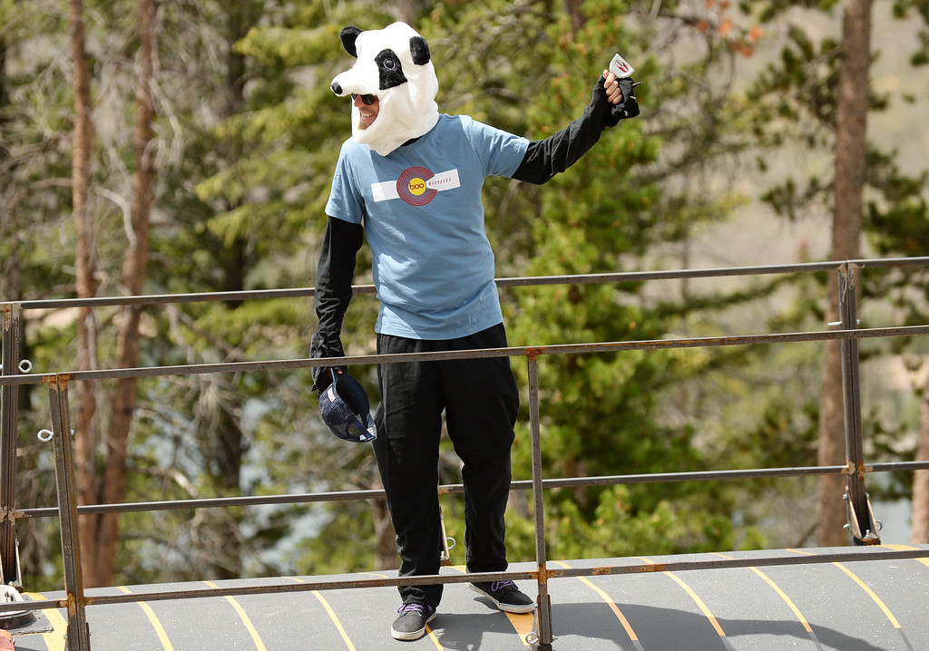 . STEAMBOAT SPRINGS, CO - August 21: Panda mascot of Boo Bicycles cheer the cyclists during 106.9 mi third stage of 2013 USA Pro Challenge race from Breckenridge to Steamboat Springs. Steamboat Springs, Colorado. August 21, 2013. (Photo By Hyoung Chang/The Denver Post)
