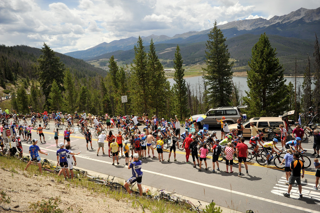 . STEAMBOAT SPRINGS, CO - August 21:Pack of cyclists are climbing Swan Mountain (9507 ft) during 106.9 mi third stage of 2013 USA Pro Challenge race from Breckenridge to Steamboat Springs. Steamboat Springs, Colorado. August 21, 2013. (Photo By Hyoung Chang/The Denver Post)