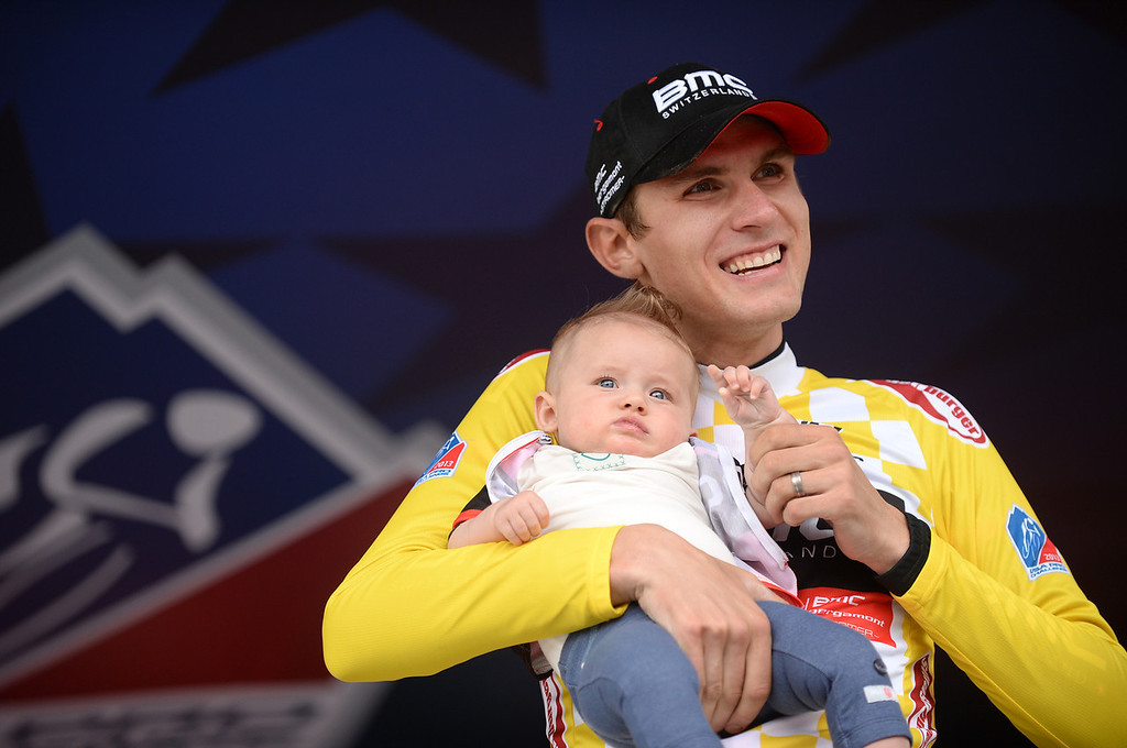 . Tejay van Garderen of BMC Racing Team takes the podium with his daughter Rylan after the 103.7-mile fourth stage of 2013 USA Pro Challenge race from Steamboat Springs to Beaver Creek. Tejay van Garderen became leader of the race after the stage. (Photo by Hyoung Chang/The Denver Post)
