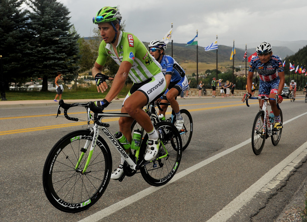 . Peter Sagan of Cannondale Pro Cycling Team starts climbing the last hill of the 103.7-mile fourth stage of the 2013 USA Pro Challenge race from Steamboat Springs to Beaver Creek, Colorado. August 22, 2013. (Photo by Hyoung Chang/The Denver Post)