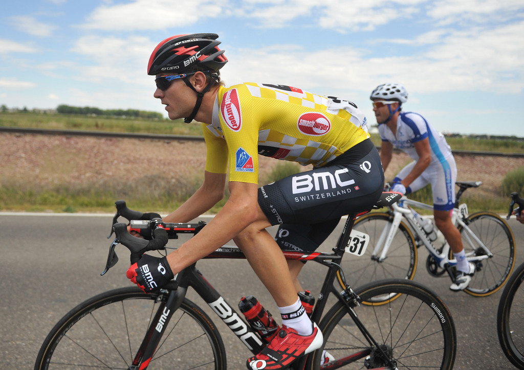 . Race leader Tejay Van Garderen of BMC Racing Team during the 115.2 mile 6th stage of 2013 USA Pro Challenge race from Loveland to Fort Collins, Colorado. August 24, 2013. (Photo by Hyoung Chang/The Denver Post)