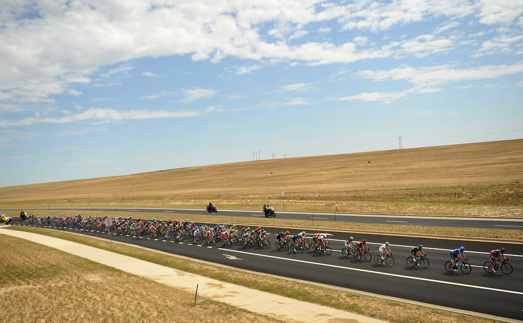 . Cyclists leaving downtown Loveland on the way to Fort Collins, Colorado. August 24, 2013. (Photo by Hyoung Chang/The Denver Post)