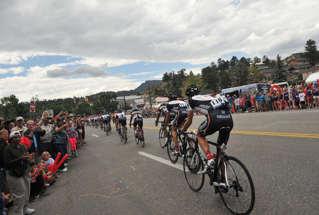 . Charter Jones of Bisselll Pro Cycling (116) and cyclists in Estes Park during the 115.2 mile 6th stage of 2013 USA Pro Challenge race from Loveland to Fort Collins, Colorado. August 24, 2013. (Photo by Hyoung Chang/The Denver Post)