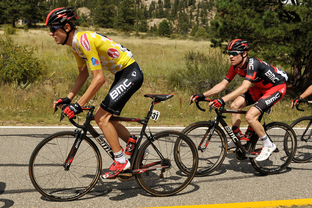 . Tejay Van Garderen of BMC Racing Team (31), left, is heading to Big Thompson Canyon during during the 115.2 mile 6th stage of 2013 USA Pro Challenge race from Loveland to Fort Collins, Colorado. August 24, 2013. (Photo by Hyoung Chang/The Denver Post)