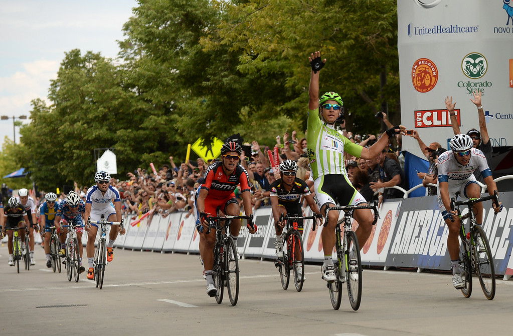 . Peter Sagan of Cannondale Pro Cycling Team celebrates winning the 115.2 mile 6th stage of 2013 USA Pro Challenge race from Loveland to Fort Collins, Colorado. August 24, 2013. Sagan has won three stages. (Photo by Hyoung Chang/The Denver Post)