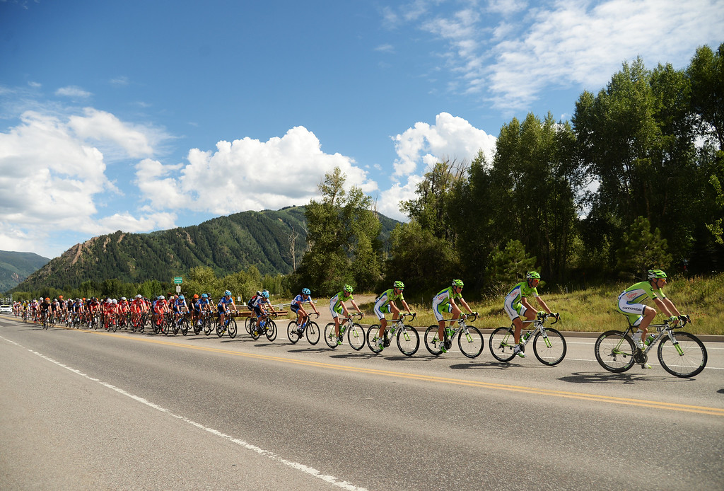. Team Cannondale is leading 2nd group of Peloton during the 1st Stage of 2014 USA Pro Challenge. Aspen, Colorado. August 18. 2014. The Aspen/Snowmass Circuit is 65 miles (3 laps of nearly 22 miles each), and 2,300 ft. of climbing per lap. (Photo by Hyoung Chang/The Denver Post)
