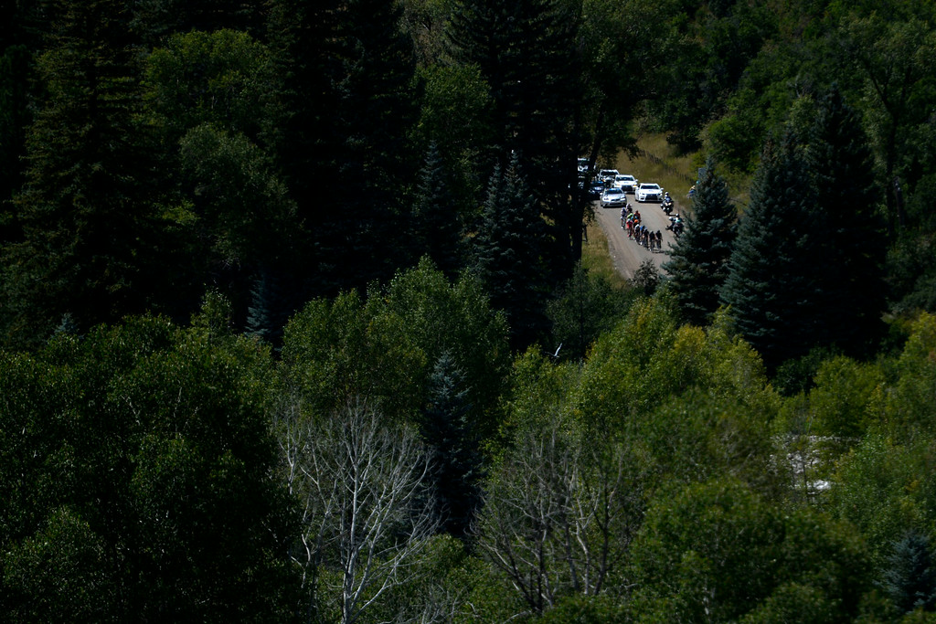 . Riders make their way up an incline during stage 2. The USA Pro Challenge stage 2 on Tuesday, August 19, 2014. (Photo by AAron Ontiveroz/The Denver Post)