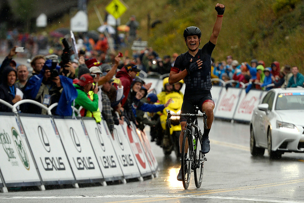 . Robin Carpenter of the Hincapie Sportswear Development Team crosses the line first during stage 2. The USA Pro Challenge stage 2 on Tuesday, August 19, 2014. (Photo by AAron Ontiveroz/The Denver Post)