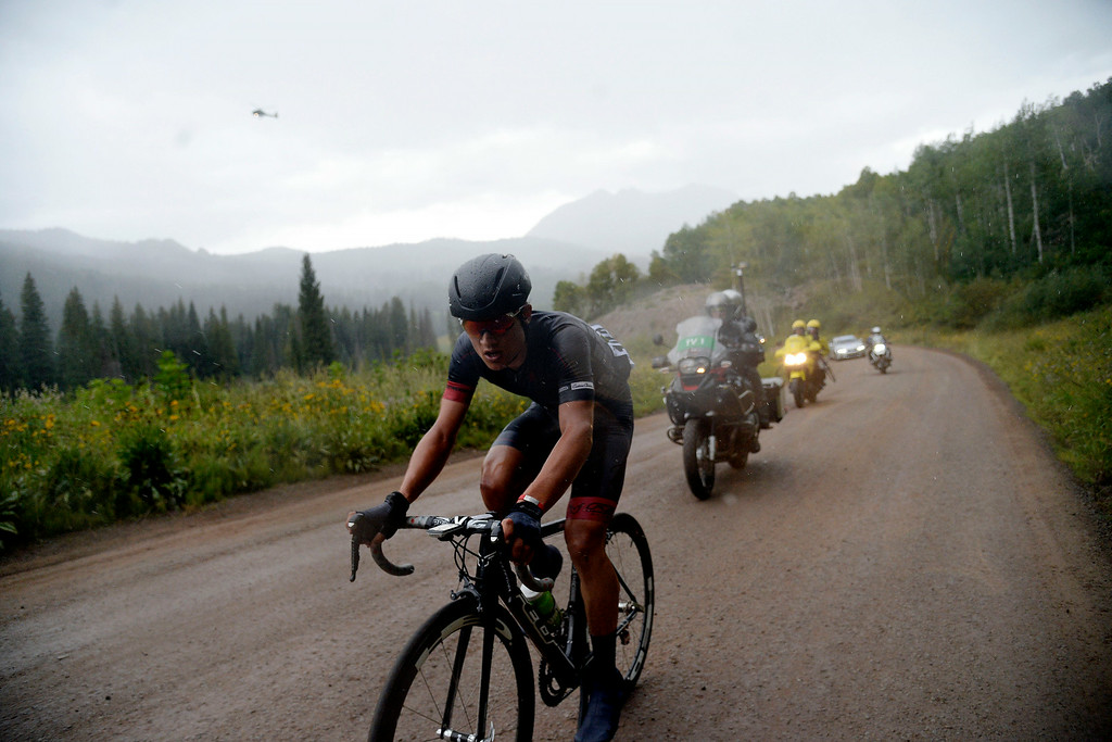 . Robin Carpenter of Hincape Sportsear Development Team leads the field en route to a stage 2 win. The USA Pro Challenge stage 2 on Tuesday, August 19, 2014. (Photo by AAron Ontiveroz/The Denver Post)