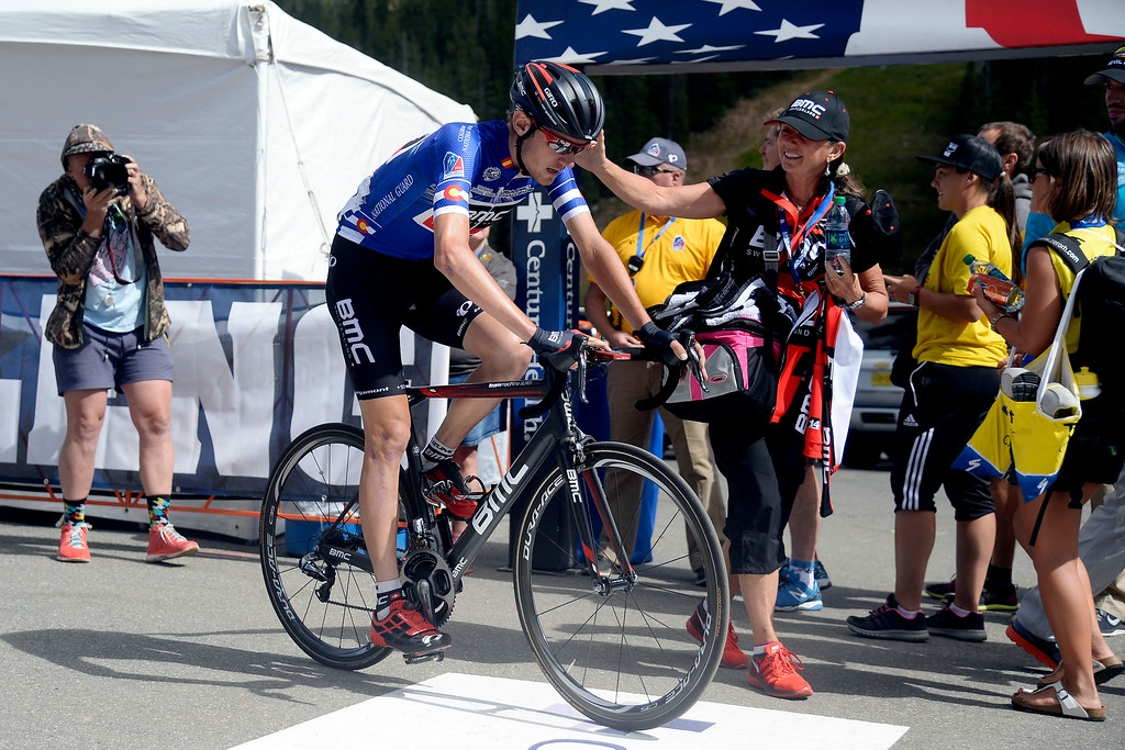 . Tejay van Garderen of BMC Racing Team crosses the line first during stage 3. The USA Pro Challenge stage 3 on Wednesday, August 20, 2014. (Photo by AAron Ontiveroz/The Denver Post)