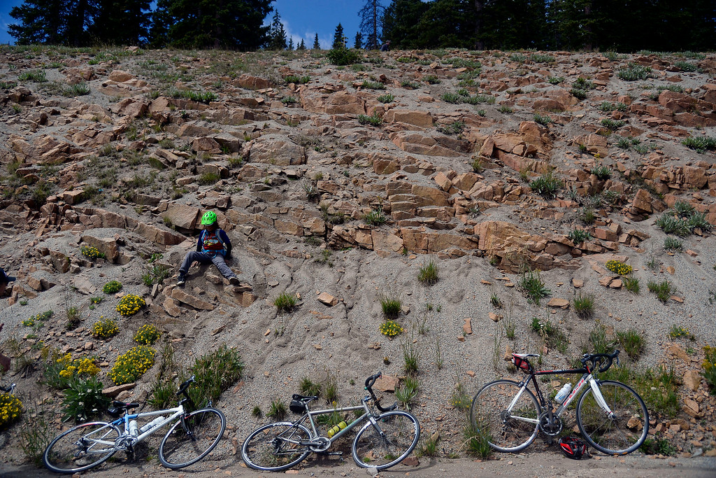 . Ethan Nejame Zeiset climbs don the side of the mountain during stage 3. The USA Pro Challenge stage 3 on Wednesday, August 20, 2014. (Photo by AAron Ontiveroz/The Denver Post)