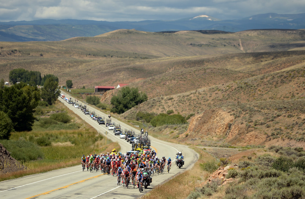 . Peloton is leaving Gunnison and heading to Monarch Pass. August 20, 2014. Stage 3 started in Gunnison and headed east for 35 miles before tackling the 11,300 ft. Monarch Pass. The riders descend the eastern slope of the pass and did two 9-mile loops through Salida and the surrounding countryside. (Photo by Hyoung Chang/The Denver Post)