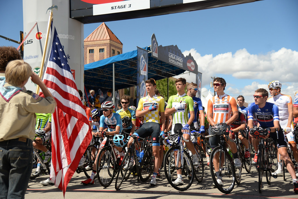 . Cyclists line start line of the stage 3 of USA Pro Challenge  August 20, 2014. Stage 3 started in Gunnison and headed east for 35 miles before tackling the 11,300 ft. Monarch Pass. The riders descend the eastern slope of the pass and did two 9-mile loops through Salida and the surrounding countryside. (Photo by Hyoung Chang/The Denver Post)