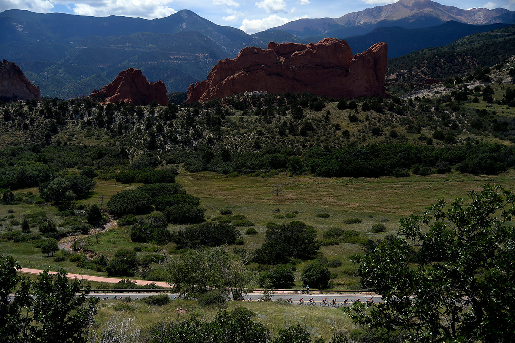 . COLORADO SPRINGS, CO - AUGUST 21: Riders make a climb during stage 4 in Garden of the Gods. The USA Pro Challenge stage 4 on Thursday, August 21, 2014. (Photo by AAron Ontiveroz/The Denver Post)