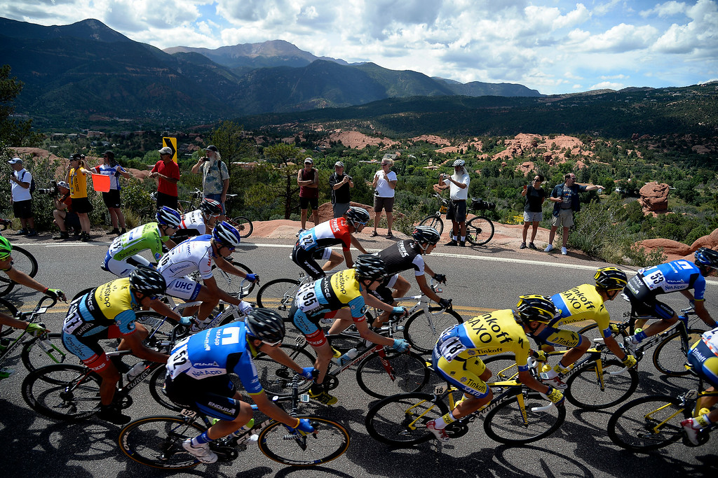 . COLORADO SPRINGS, CO - AUGUST 21: Riders make a tight turn through Garden of the Gods during stage 4. The USA Pro Challenge stage 4 on Thursday, August 21, 2014. (Photo by AAron Ontiveroz/The Denver Post)
