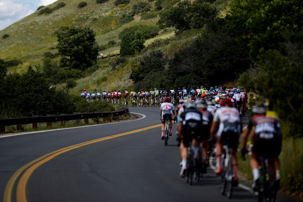. COLORADO SPRINGS, CO - AUGUST 21: Riders make their way up an incline in the Garden of the Gods during stage 4. The USA Pro Challenge stage 4 on Thursday, August 21, 2014. (Photo by AAron Ontiveroz/The Denver Post)
