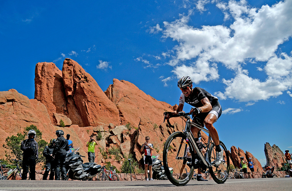 . COLORADO SPRINGS, CO - AUGUST 21: Jens Voigt opens a lead as he cruises through Garden of the Gods during stage 4.  The USA Pro Challenge stage 4 on Thursday, August 21, 2014. (Photo by AAron Ontiveroz/The Denver Post)