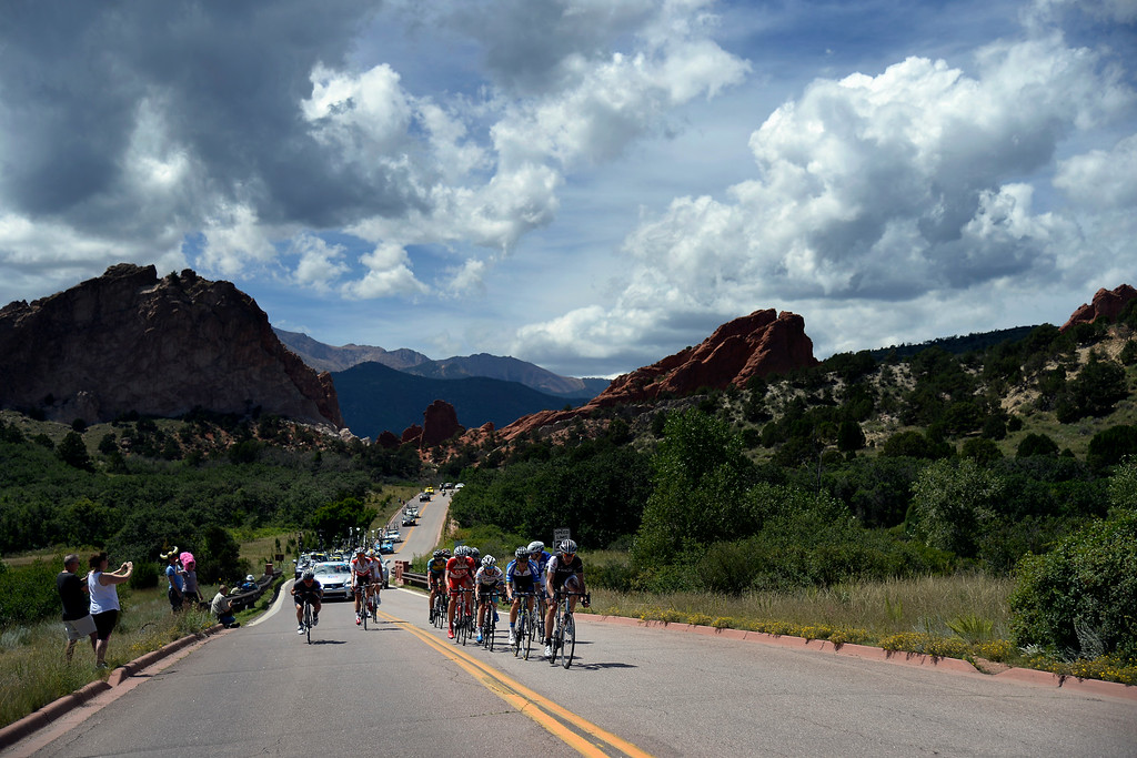 . COLORADO SPRINGS, CO - AUGUST 21: Jens Voigt leads the pack through Garden of the Gods during stage 4. The USA Pro Challenge stage 4 on Thursday, August 21, 2014. (Photo by AAron Ontiveroz/The Denver Post)