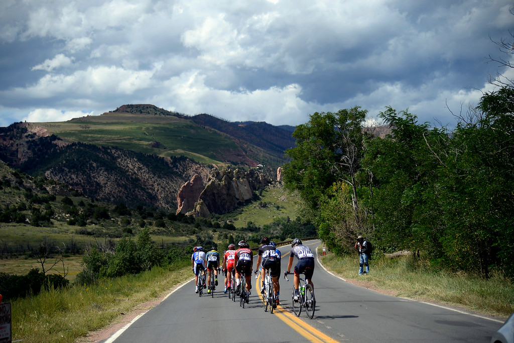 . COLORADO SPRINGS, CO - AUGUST 21: Riders cruise through Garden of the Gods during stage 4. The USA Pro Challenge stage 4 on Thursday, August 21, 2014. (Photo by AAron Ontiveroz/The Denver Post)