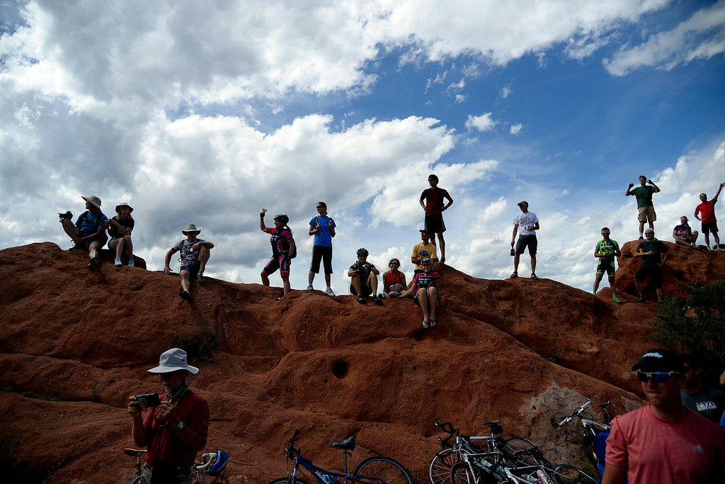 . COLORADO SPRINGS, CO - AUGUST 21: Fans support riders through the Garden of the Gods during stage 4. The USA Pro Challenge stage 4 on Thursday, August 21, 2014. (Photo by AAron Ontiveroz/The Denver Post)
