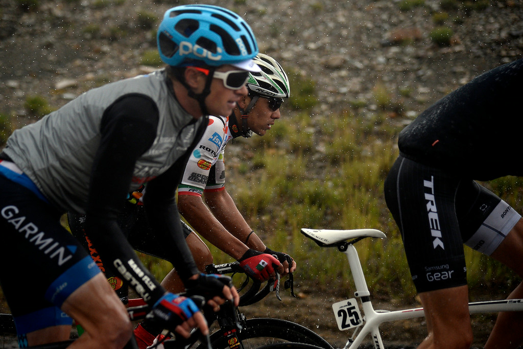 . BRECKENRIDGE, CO - AUGUST 22: Luis Enrique Davila battles the rain during stage 5. The USA Pro Challenge stage 5 on Friday, August 22, 2014. (Photo by AAron Ontiveroz/The Denver Post)