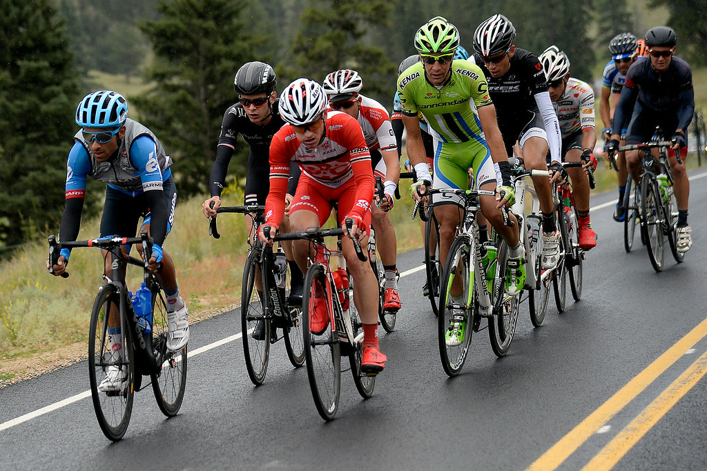 . BRECKENRIDGE, CO - AUGUST 22: The breakaway group separates themselves from the pack during stage 5. The USA Pro Challenge stage 5 on Friday, August 22, 2014. (Photo by AAron Ontiveroz/The Denver Post)