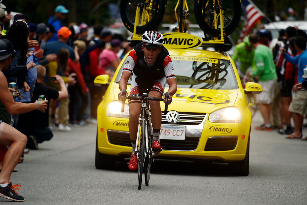 . BRECKENRIDGE, CO - AUGUST 22: Patrick Konrad makes his way to the home stretch to the cheers of fans during stage 5. The USA Pro Challenge stage 5 on Friday, August 22, 2014. (Photo by AAron Ontiveroz/The Denver Post)