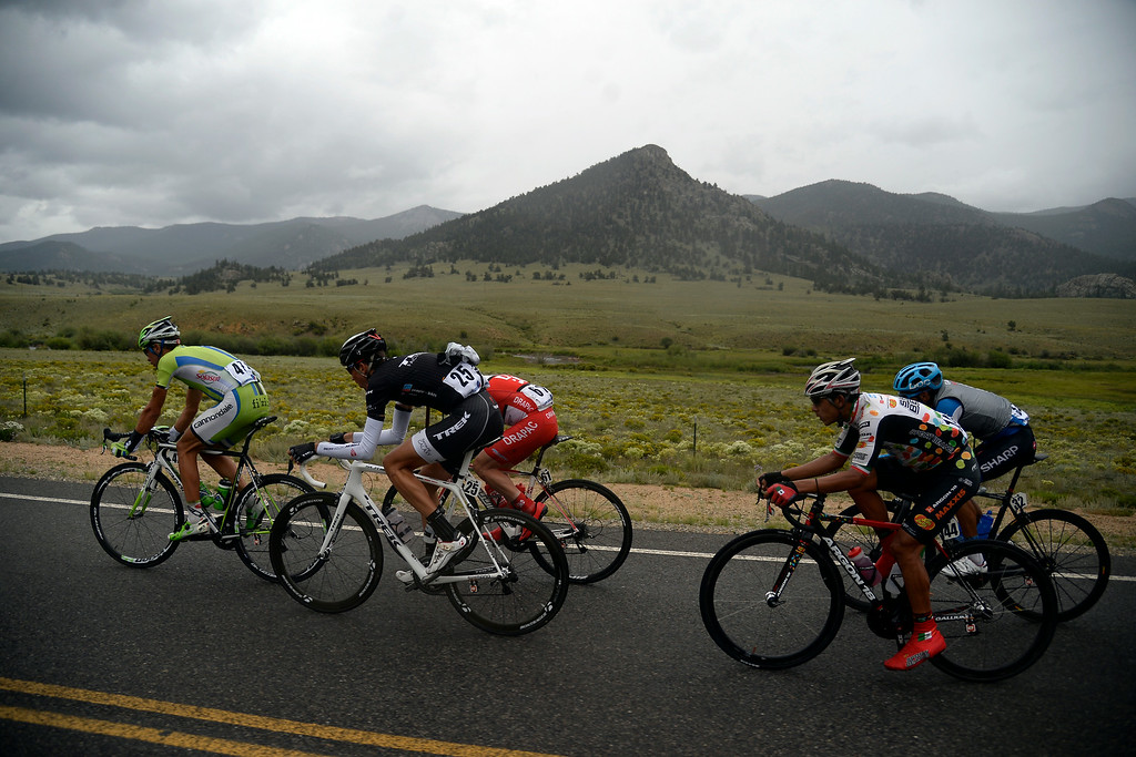 . BRECKENRIDGE, CO - AUGUST 22: The breakaway, including eventual stage champion Laurent Didier (25) group separates themselves from the pack during stage 5. The USA Pro Challenge stage 5 on Friday, August 22, 2014. (Photo by AAron Ontiveroz/The Denver Post)