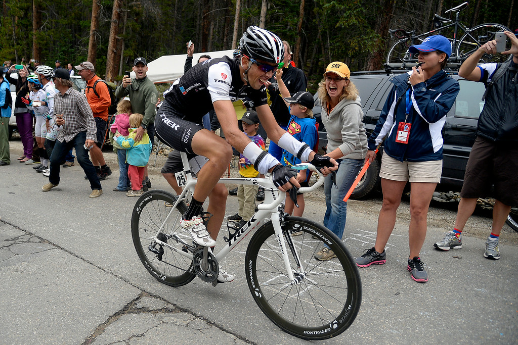 . BRECKENRIDGE, CO - AUGUST 22: Trek Factory Racing team member Laurent Didier, stage 5 winner, makes his way into Breckenridge. The USA Pro Challenge stage 5 on Friday, August 22, 2014. (Photo by AAron Ontiveroz/The Denver Post)