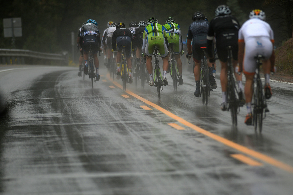 . BRECKENRIDGE, CO - AUGUST 22: Riders battled rain throughout the day during stage 5. The USA Pro Challenge stage 5 on Friday, August 22, 2014. (Photo by AAron Ontiveroz/The Denver Post)