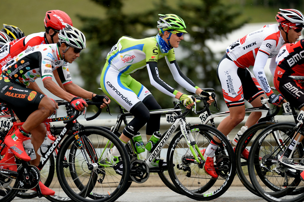 . BRECKENRIDGE, CO - AUGUST 22: Cannondale\'s Matej Mohoric pedals with the pack during stage 5. The USA Pro Challenge stage 5 on Friday, August 22, 2014. (Photo by AAron Ontiveroz/The Denver Post)