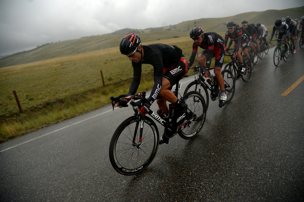 . BRECKENRIDGE, CO - AUGUST 22: Martin Kohler leads the pack through the rain during stage 5. The USA Pro Challenge stage 5 on Friday, August 22, 2014. (Photo by AAron Ontiveroz/The Denver Post)