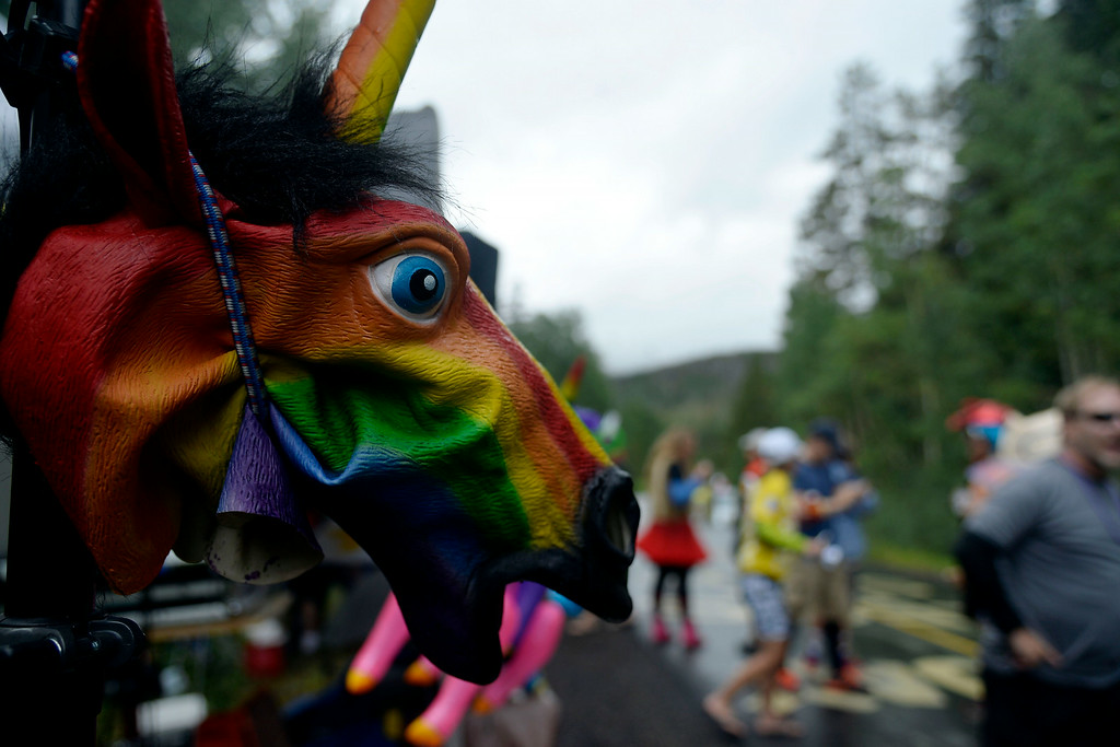 . VAIL, CO - AUGUST 23: A rubber horse head is affixed to a pole during stage 6. The USA Pro Challenge stage 6 time trial on Saturday, August 23, 2014. (Photo by AAron Ontiveroz/The Denver Post)