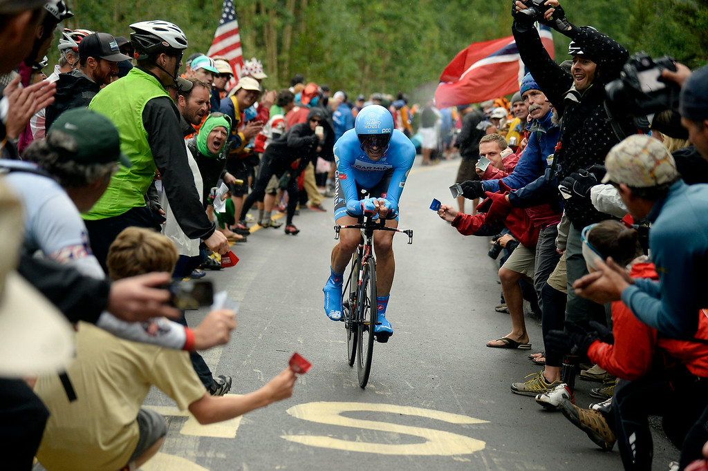 . VAIL, CO - AUGUST 23: Fans cheer on Phillip Gaimonduring stage 6. The USA Pro Challenge stage 6 time trial on Saturday, August 23, 2014. (Photo by AAron Ontiveroz/The Denver Post)